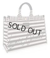 HENNRI BENDEL★SIGNATURE STRIPED CANVAS TOTE/black