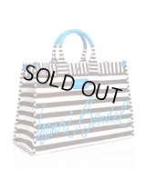 HENNRI BENDEL★SIGNATURE STRIPED CANVAS TOTE/blue