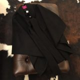 GLOW LONDON ★Wool Coat Poncho Stall style /black