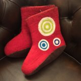 SpainBarcelona★Organic100%Wool HandMade Room Shoes/red