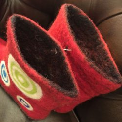 画像2: SpainBarcelona★Organic100%Wool HandMade Room Shoes/red
